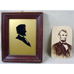 LOT - ABRAHAM LINCOLN CDV PHOTO AND SILHOUETTE - F