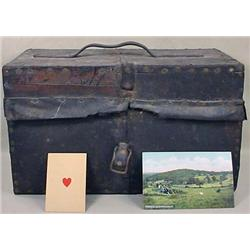CIVIL WAR ERA WOODEN BOX W/ LEATHER COVER - Hinged