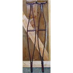 CIVIL WAR ERA WOODEN CRUTCHES