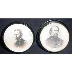 LOT OF 2 CIVIL WAR ERA PHOTO PAPERWEIGHTS OF SOLDI