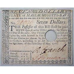 C. 1780 COLONIAL CURRENCY 7 DOLLAR NOTE - State of
