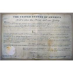 1827 U.S.A. LAND GRANT DOCUMENT SIGNED BY JOHN QUI