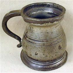 C. 1700'S PEWTER MINIATURE TANKARD - Marked and pa