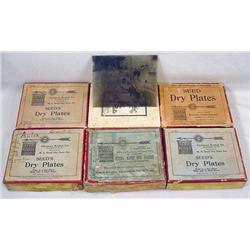 LARGE LOT OF GLASS NEGATIVES IN OLD CIGAR BOX - Al