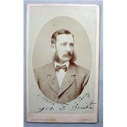 C. 1874 AUTOGRAPHED PHOTO OF JOSEPH F. SMITH - MOR