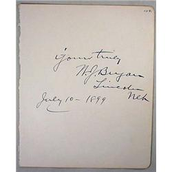 1899 W. J. BRYAN SIGNATURE ON PAPER - William Jenn