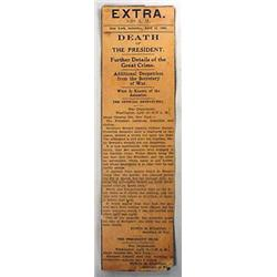 """4-15-1865 """"DEATH OF THE PRESIDENT"""" NEWSPAPER ARTIC"""