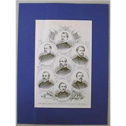 VINTAGE PRINT OF PORTRAITS OF SOME OF THE GENERALS