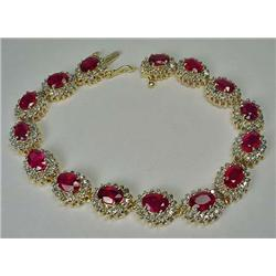 14K LADIES RUBY AND DIAMOND BRACELET - Comes with
