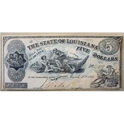 1863 CIVIL WAR STATE OF LOUISIANA 5 DOLLAR NOTE