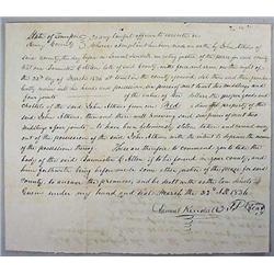 1836 HANDWRITTEN BOUNTY ON A SLAVE WHOLE STOLE - W