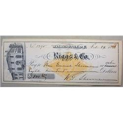 1883 CHECK WRITTEN BY GENERAL W. T. SHERMAN TO HIS