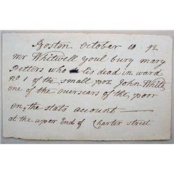 1792 REVOLUTIONARY WAR ERA DIRECTIONS FOR BURIAL O