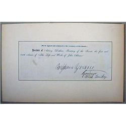 BRIGHAM YOUNG SIGNED RECEIPT AS GOVERNOR OF THE UT