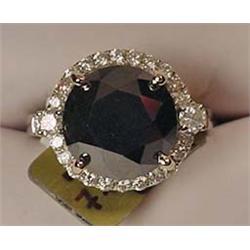 14K WHITE GOLD LADIES BLACK DIAMOND RING - Comes w