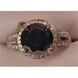 14K WHITE GOLD BLACK DIAMOND RING - Comes with AIG