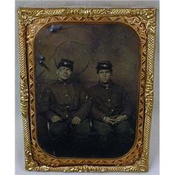 ANTIQUE CIVIL WAR TIN TYPE PHOTO OF 2 SOLDIERS IN