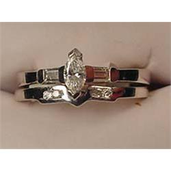 LADIES PLATINUM AND DIAMOND ENGAGEMENT RING SET -
