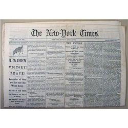 4-10-1865 CIVIL WAR ERA NEWSPAPER - NEW YORK TIMES