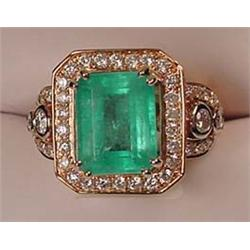 14K GOLD LADIES EMERALD AND DIAMOND RING - Comes w