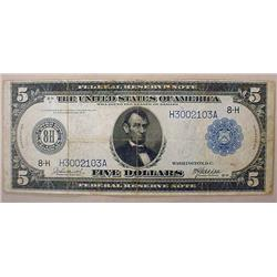 1914 U.S. 5 DOLLAR FEDERAL RESERVE NOTE - LARGE