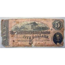 1864 CONFEDERATE STATES OF AMERICA 5 DOLLAR NOTE