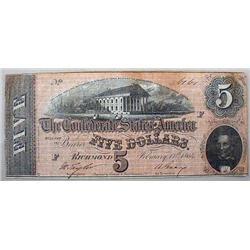 1864 CIVIL WAR CONFEDERATE STATES OF AMERICA 5 DOL