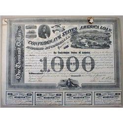 1863 LARGE CONFEDERATE 1,000 DOLLAR BOND CERTIFICA