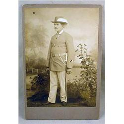 EARLY CABINET CARD PHOTO OF SOLDIER W/ SWORD - POS