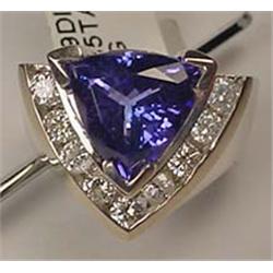 14K WHITE GOLD LADIES TANZANITE DIAMOND RING - Com