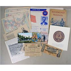 LOT OF CIVIL WAR RELATED EPHEMERA - Incl. 1908 Abr