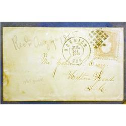 1865 CIVIL WAR ERA ENVELOPE - FRAMED - Envelope is