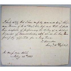 1863 CIVIL WAR ERA MEDICAL DISCHARGE PAPER - For C