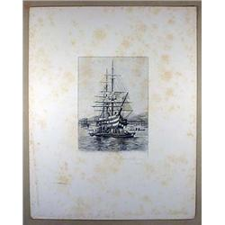 1890 STEEL ENGRAVING FRENCH LINE OF BATTLE SHIP FO