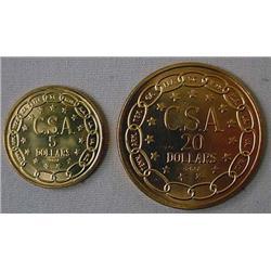 "LOT OF 2 ""PROPOSED"" CIVIL WAR CONFEDERATE COINS -"