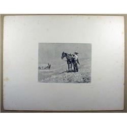 1888 STEEL ENGRAVING OF COWBOY AND INDIANS BY THOM