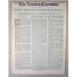 THE LONDON CHRONICLE NEWSPAPER DATED 3-26-1763 - F
