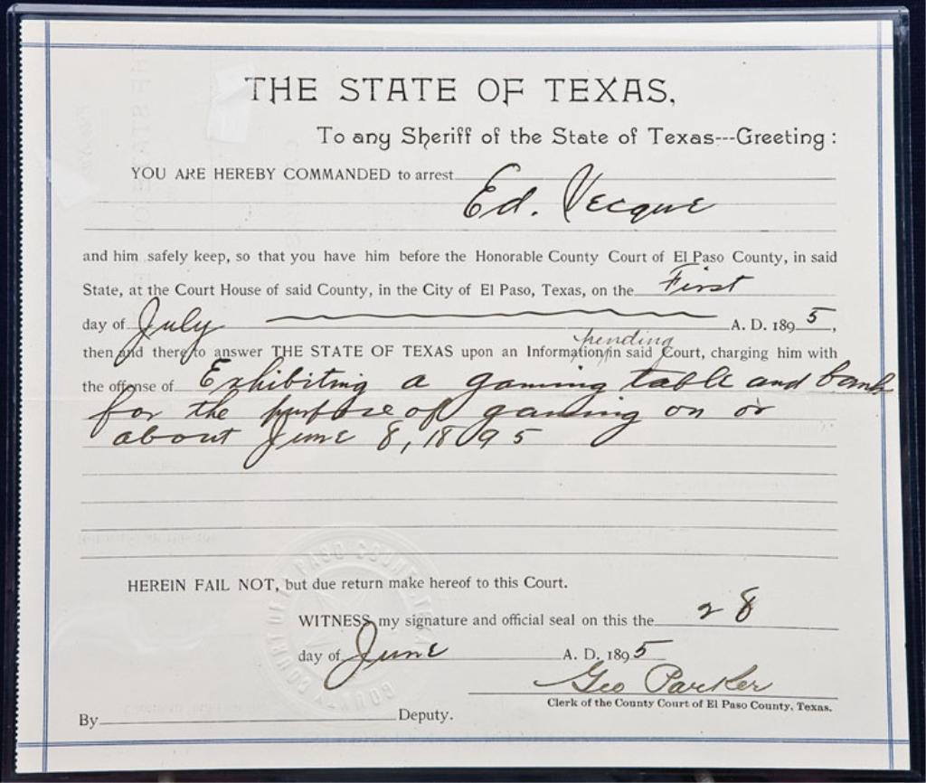 Lot of two historic original Texas arrest warrants, both