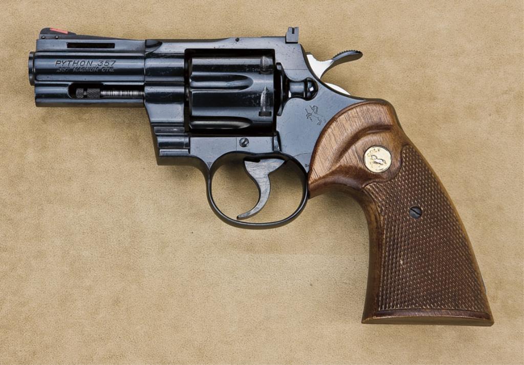 """Combat Python colt python model da revolver, .357 magnum cal., rare 3"""" barrel, blue"""