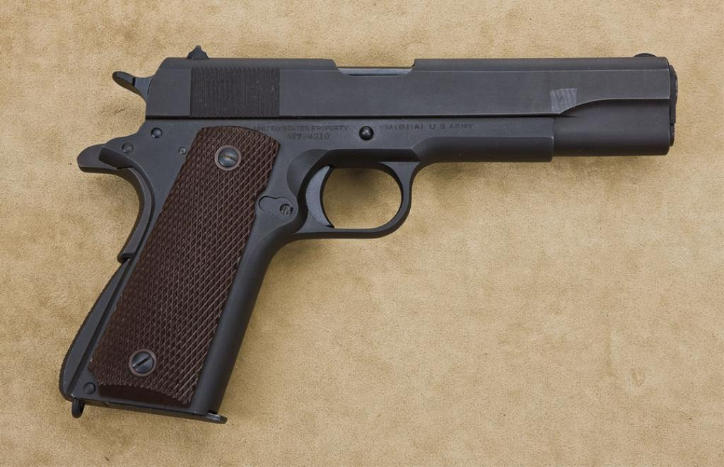 Colt model 1911A1,  45 ACP caliber, semiautomatic pistol, parkerized