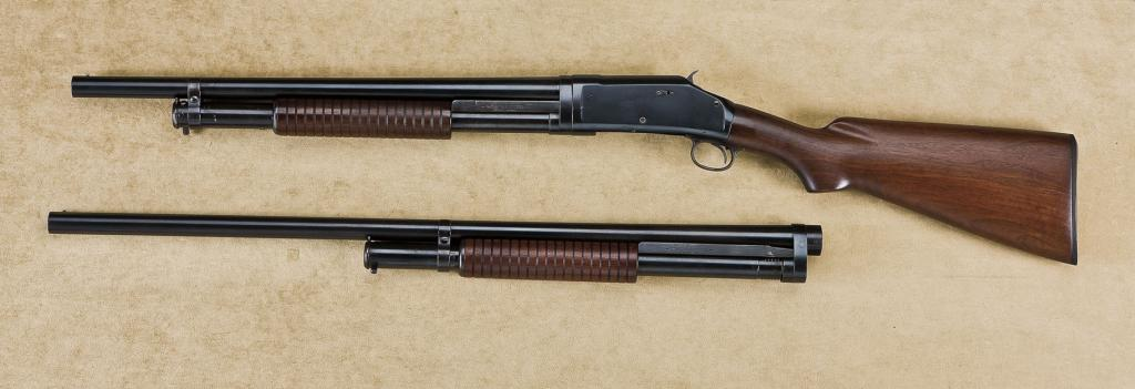 Winchester model 1897, pump-action shotgun with two sets of
