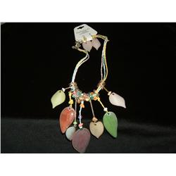 Colorful Pastel Leafy Necklace and Earring Set
