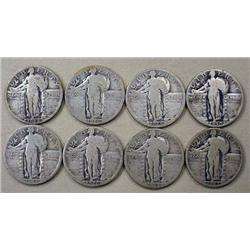 LOT OF 8 STANDING LIBERTY QUARTERS - ALL W/ DATES