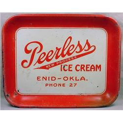 EARLY PEERLESS ICE CREAM ADVERTISING TRAY - Approx