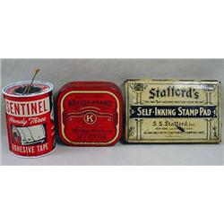 LOT OF 3 VINTAGE ADVERTISING TINS - Incl. Sentinel