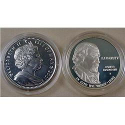LOT OF 2 PROOF COINS - 2001 Harry Potter Isle of M