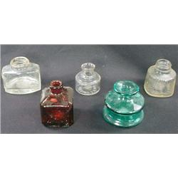 LOT OF 5 VINTAGE GLASS INKWELLS - INCL. BLUE, RED