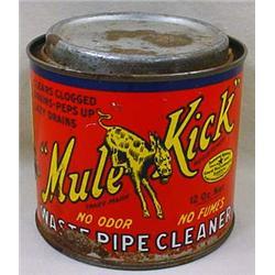 C. 1931 MULE KICK DRAIN CLEANER ADVERTISING TIN -