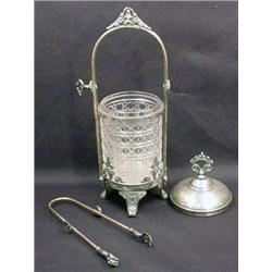 VICTORIAN PICKLE CASTER W/ TONGS