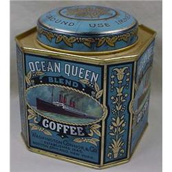 VINTAGE OCEAN QUEEN COFFEE ADVERTISING TIN - GREAT